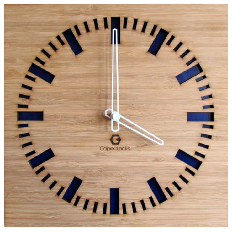 Square Full Digit Bamboo Clock by CapeClocks
