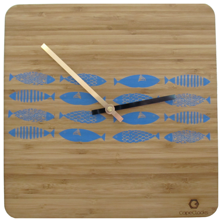 Square Fish Decal Beachhouse Bamboo Clock by CapeClocks