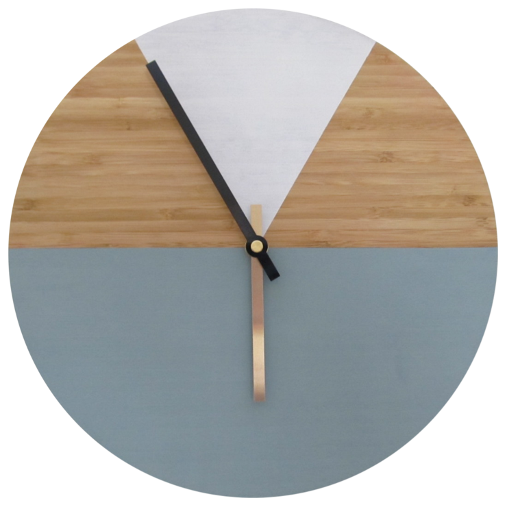 Two Tone Chalk Paint Bamboo Clock by CapeClocks