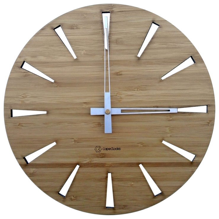 Triangle Cut-Out Bamboo Clock by CapeClocks