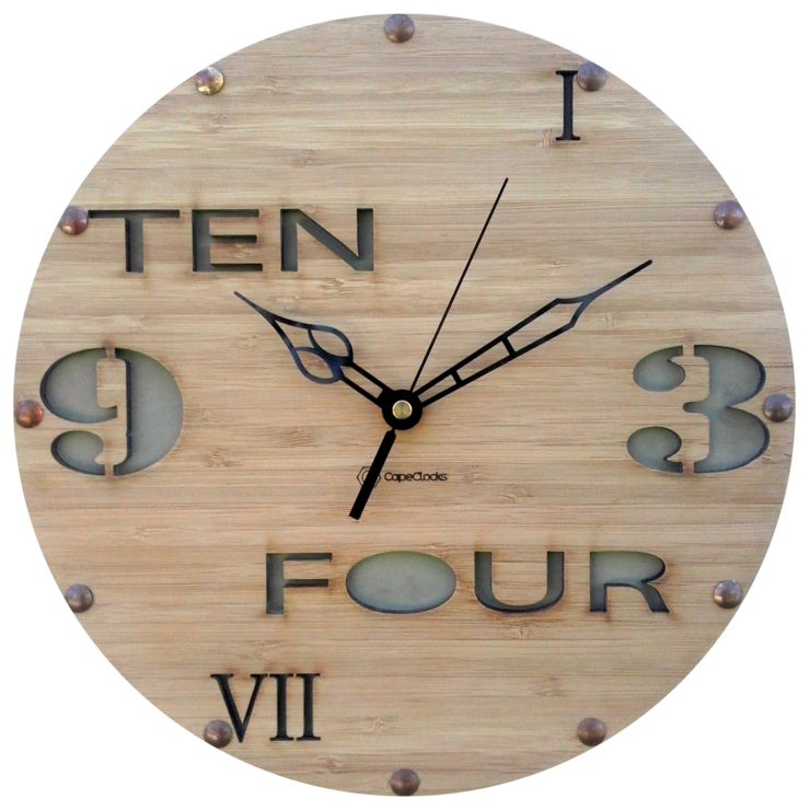 Green Industrial Look Bamboo Clock  by CapeClocks