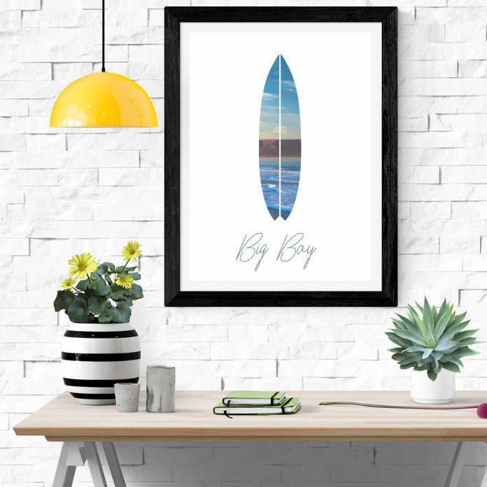 Cape Town / Big Bay Surf - Digital Artwork Poster Print by Fit&Co