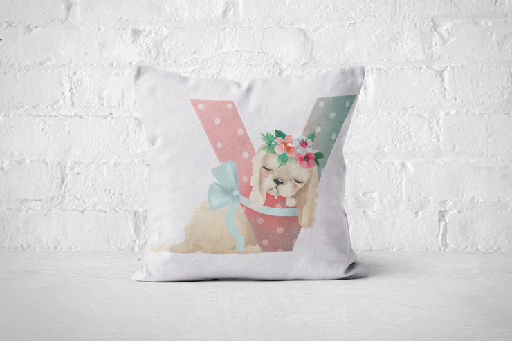 Pretty Letters Pillow Cover - V by But Why Not