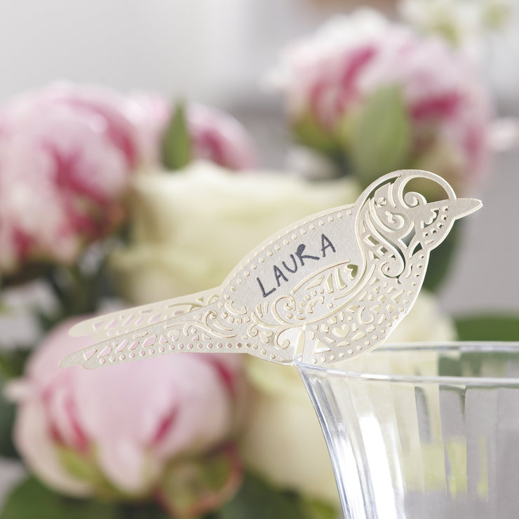 Vintage Lace - Place Card for Glass Ivory by Ginger Ray