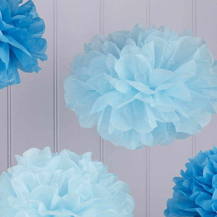 Vintage Lace - Tissue Paper Pom Poms - Light Blue/Dark Blue by Ginger Ray