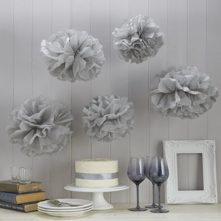Vintage Lace - Tissue Paper Pom Poms - Grey by Ginger Ray