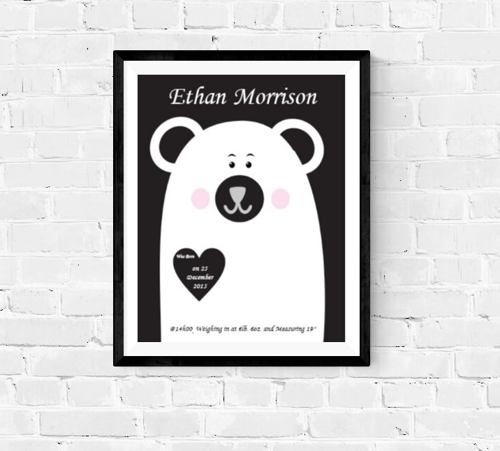 EDITABLE BIRTH INFO / BIRTH ANNOUNCEMENT PRINTABLE, BEAR, MONOCHROME NURSERY by hcmorrison printables