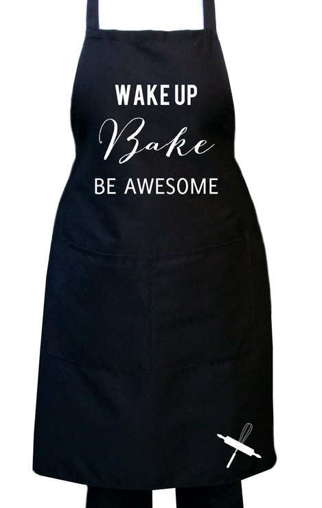 Wake up bake, be awesome, Black kitchen apron, Full bib black apron, Unisex baking apron, Gift idea. by Toast Stationery