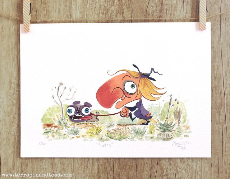 Walkies, Childrens Room Art, Fine Art Print, watercolour and gouache illustration, witch walking pug by Terrapin and Toad