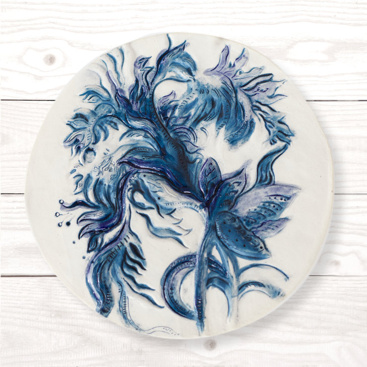 Frilly poppy wall piece - Cobalt blue | Lindnr Ceramics  by LindnrCo