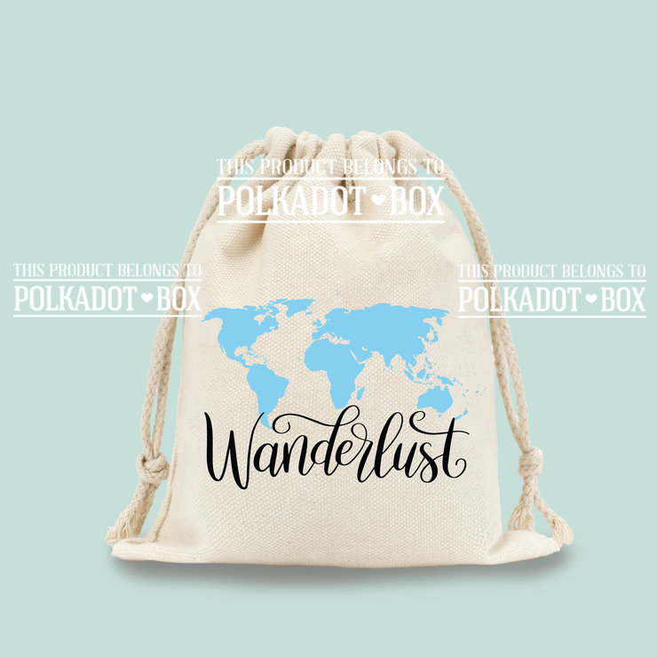 Wanderlust Drawstring Bag  by Polkadot Box