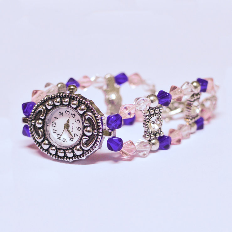 Pink and Blue Glass Bead Watch by Tam Cam Creatives