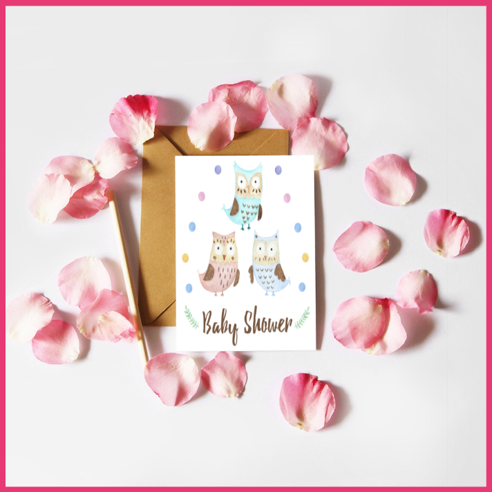 Watercolour Owls Baby Shower Card