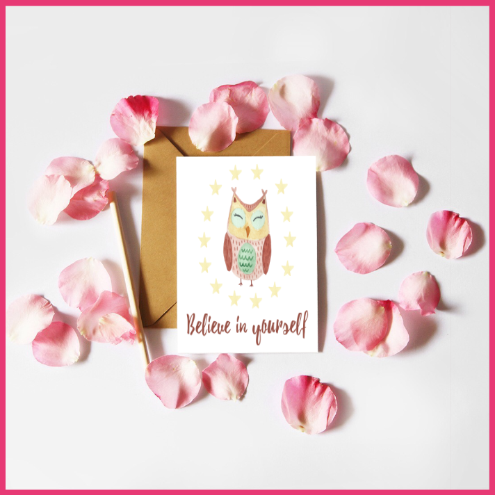 Watercolour Owl Believe in Yourself Card by The Art of Creativity Studio