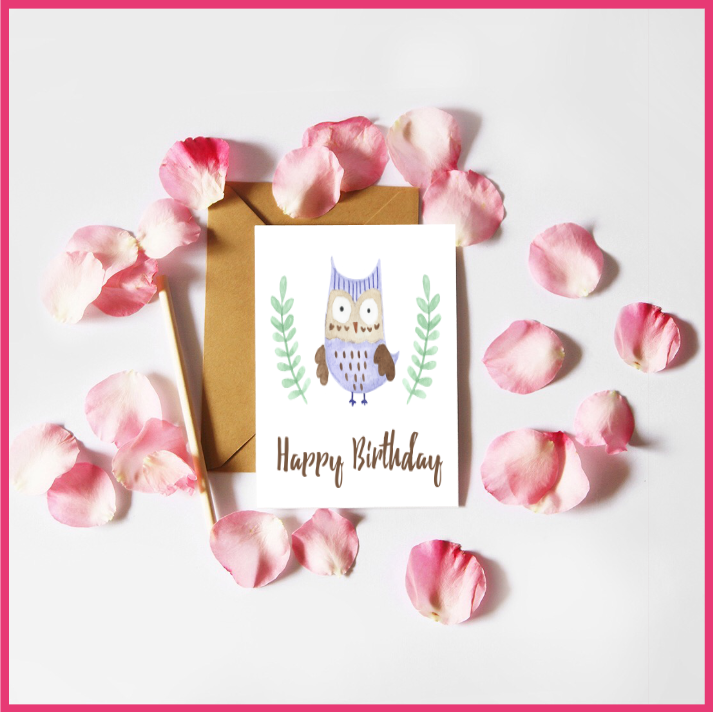 Watercolour Owls Birthday Card by The Art of Creativity Studio