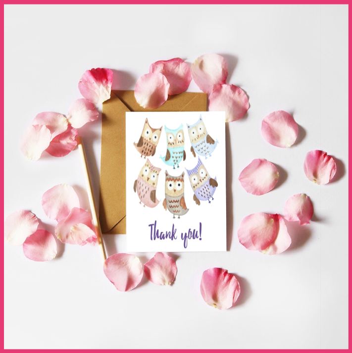 Watercolour Owls Thank-you Card by The Art of Creativity Studio