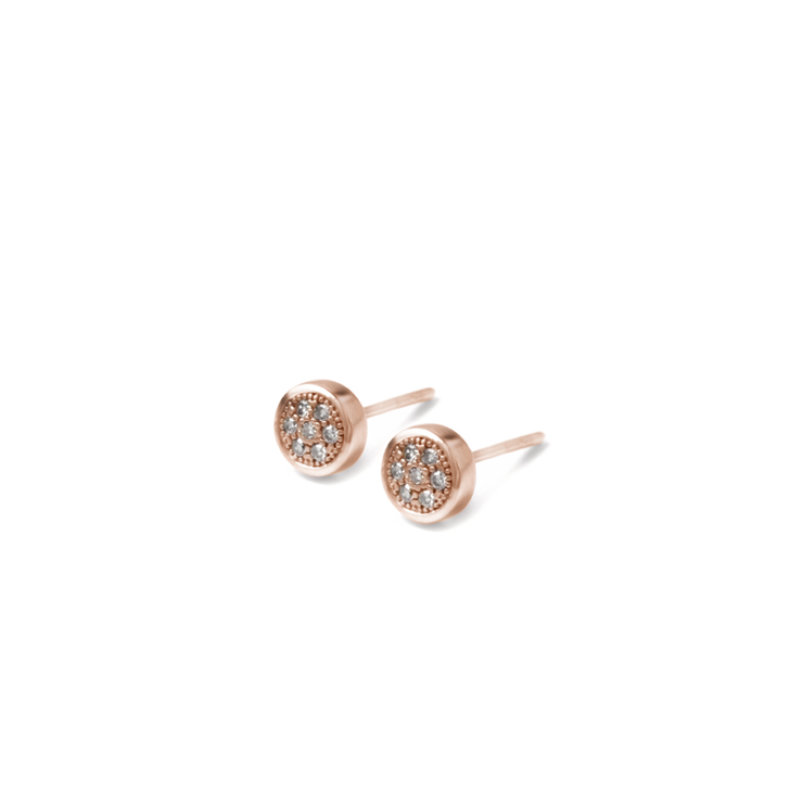 Halo Diamond Studs - 18ct Rose Gold Plated Sterling Silver by WHYJewellery