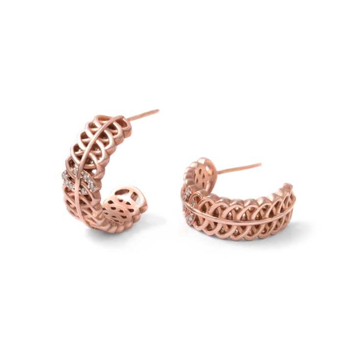 Geometric Diamond Hoops - 18ct Rose Gold Sterling Silver by WHYJewellery