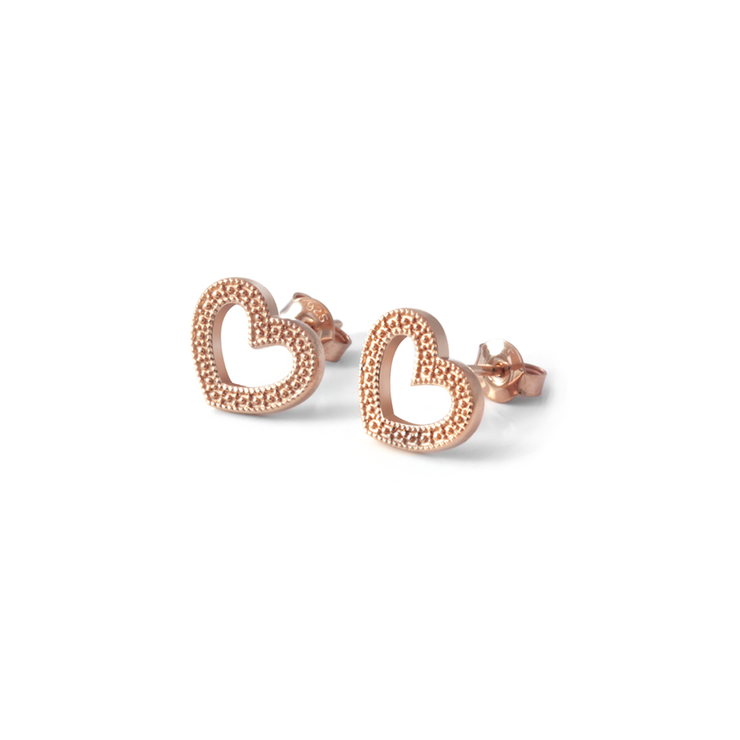 Millgrain Heart Studs - 18ct Rose Gold Plated Sterling Silver by WHYJewellery
