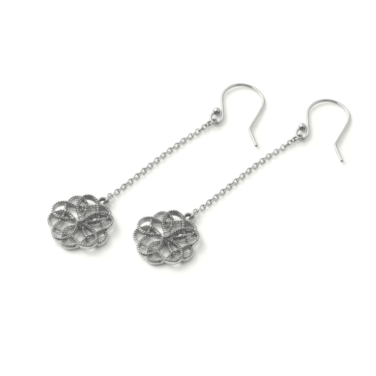 Floral Drop Earrings - Palladium Plated Sterling Silver by WHYJewellery