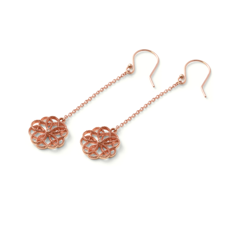 Floral Drop Earrings - 18ct Rose Gold Plated Sterling Silver by WHYJewellery