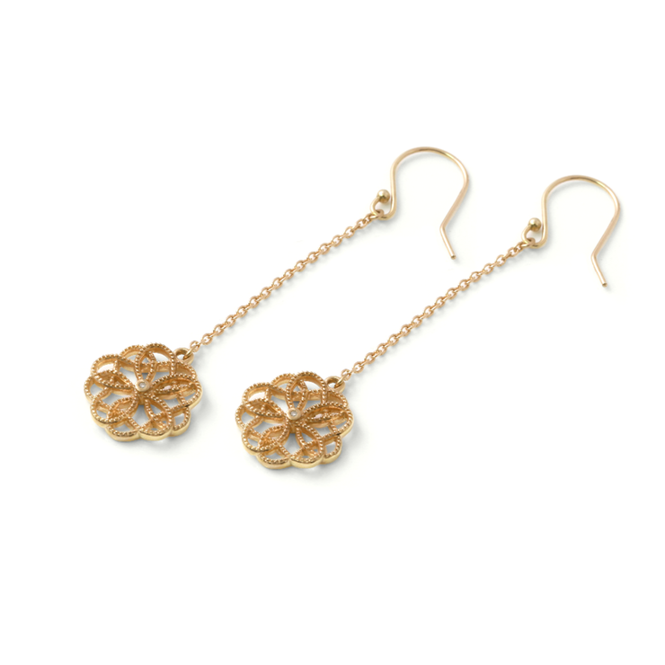 [WHY LOVE] Floral Collection - Yellow Gold Plated Diamond Chandelier Earrings by WHYJewellery