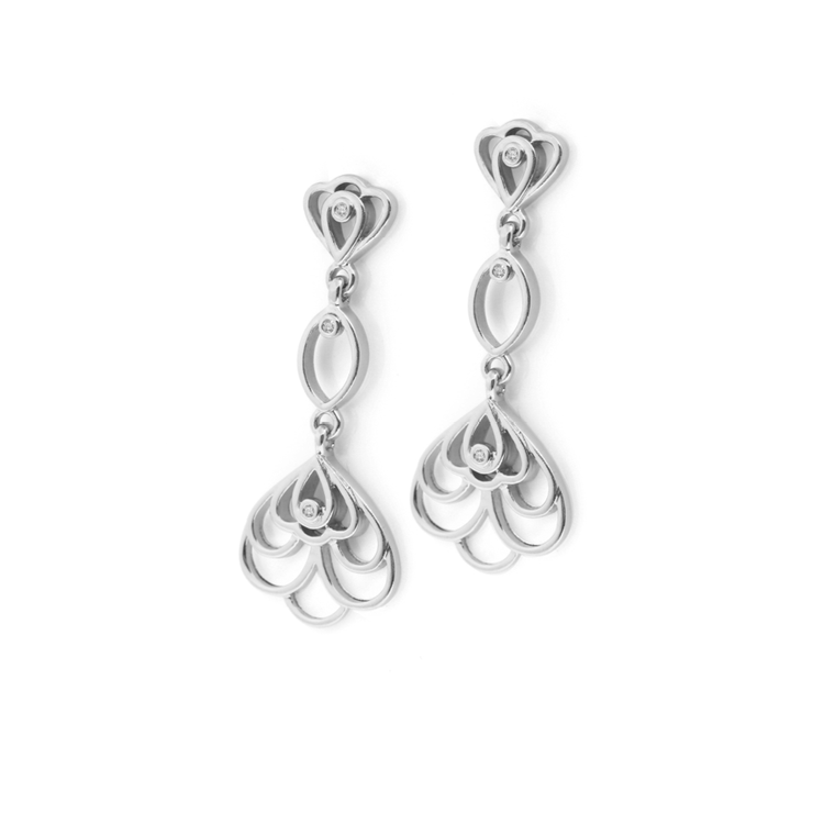 Fancy Floral Diamond Chandelier Earrings - Palladium Plated Sterling Silver by WHYJewellery