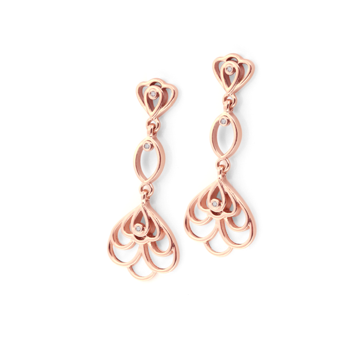[WHY LOVE] Floral Collection - Rose Gold Plated Diamond Chandelier Earrings by WHYJewellery