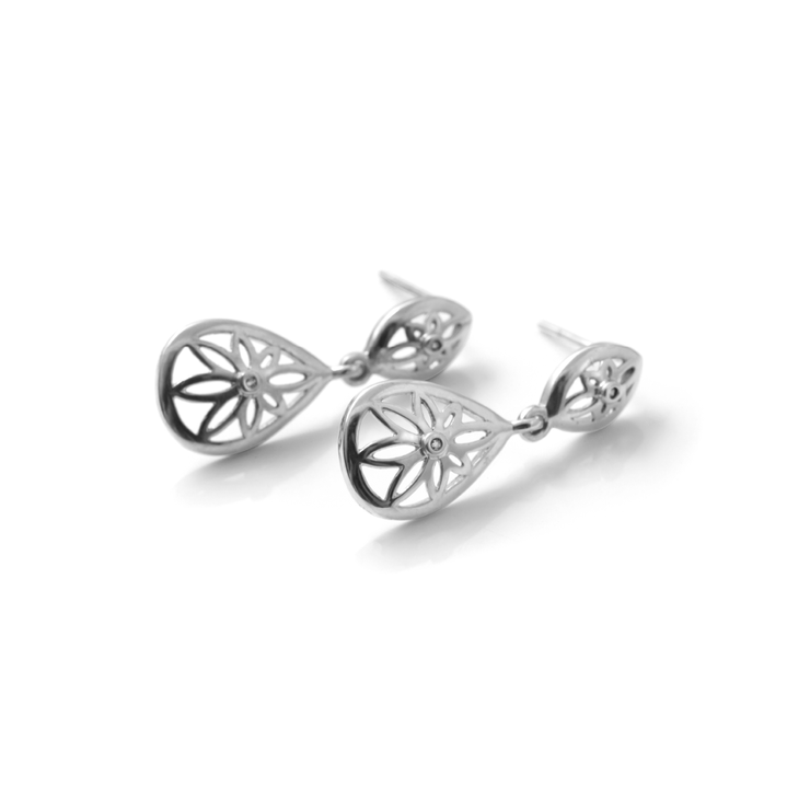 Floral Diamond Droplets - Palladium Plated Sterling Silver by WHYJewellery
