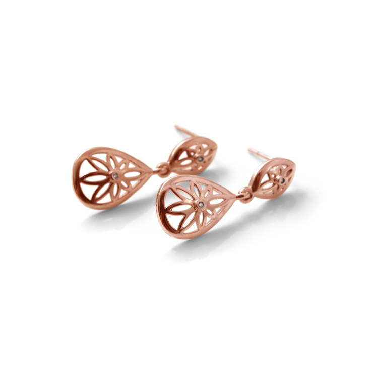 03edce8fe Teardrop Floral Drop Diamond Earrings - 18ct Rose Gold Plated Sterling  Silver by WHYJewellery