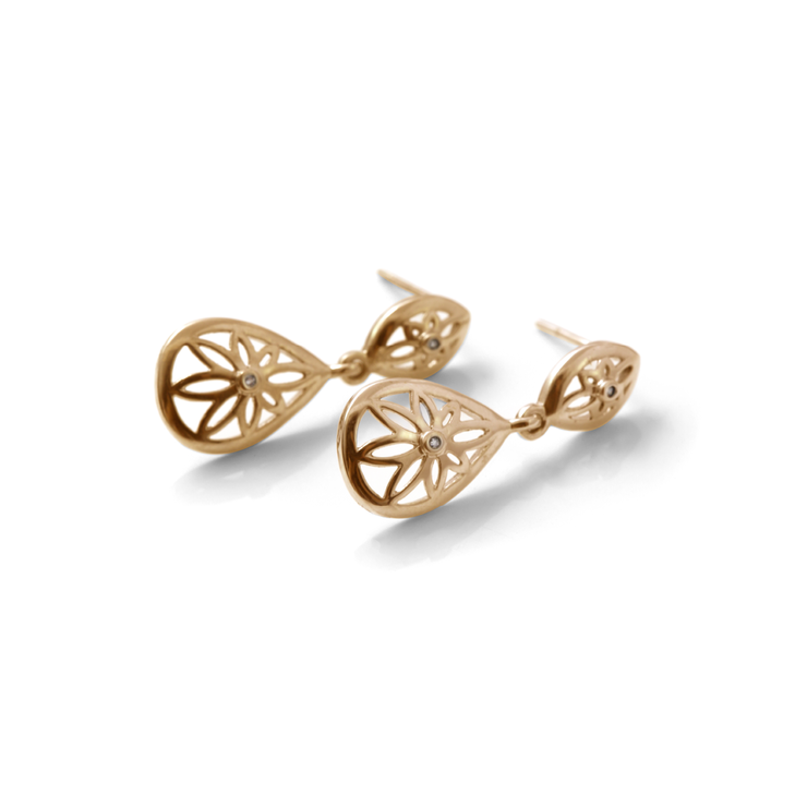 Teardrop Floral Drop Diamond Earrings - 18ct Yellow Gold Plated Sterling Silver by WHYJewellery