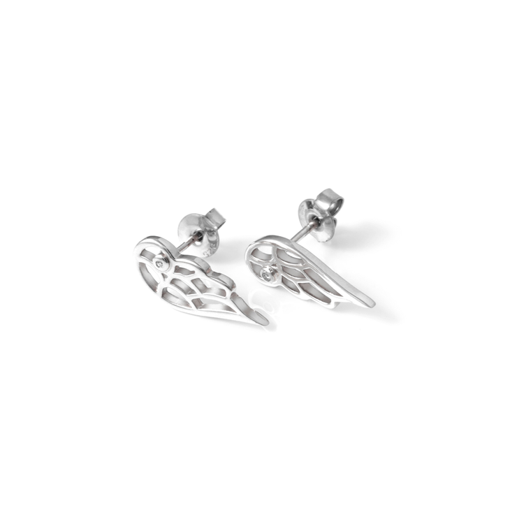 Wings Diamond Studs - Palladium Plated Sterling Silver  by WHYJewellery