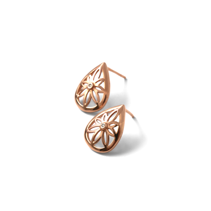 Teardrop Floral Studs - 18ct Rose Gold Plated Sterling Silver  by WHYJewellery