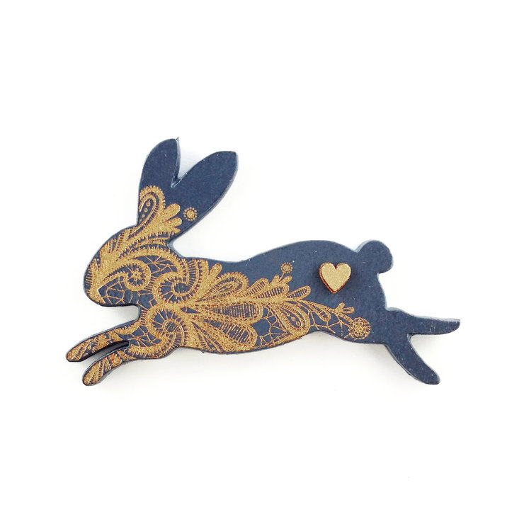 brooch /MRS RABBIT/ navy by LANDI KUHN Functional Art & Design
