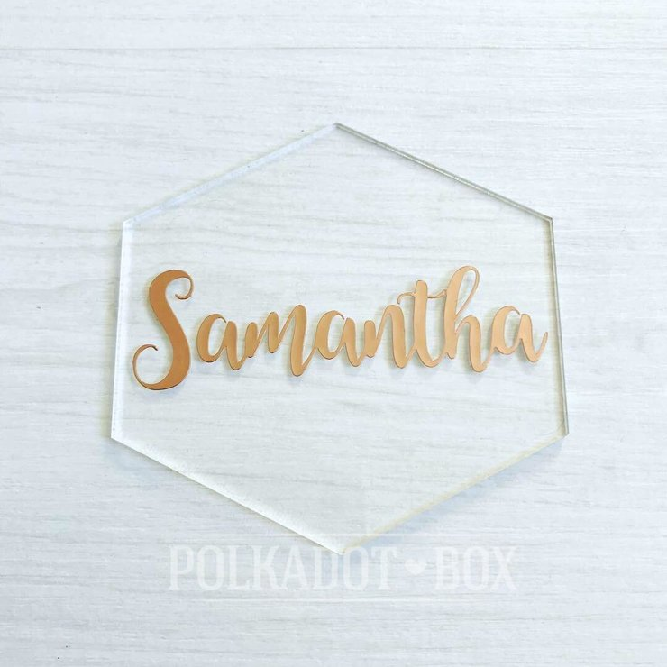 Custom Perspex Wedding Guest Names (price per name) by Polkadot Box