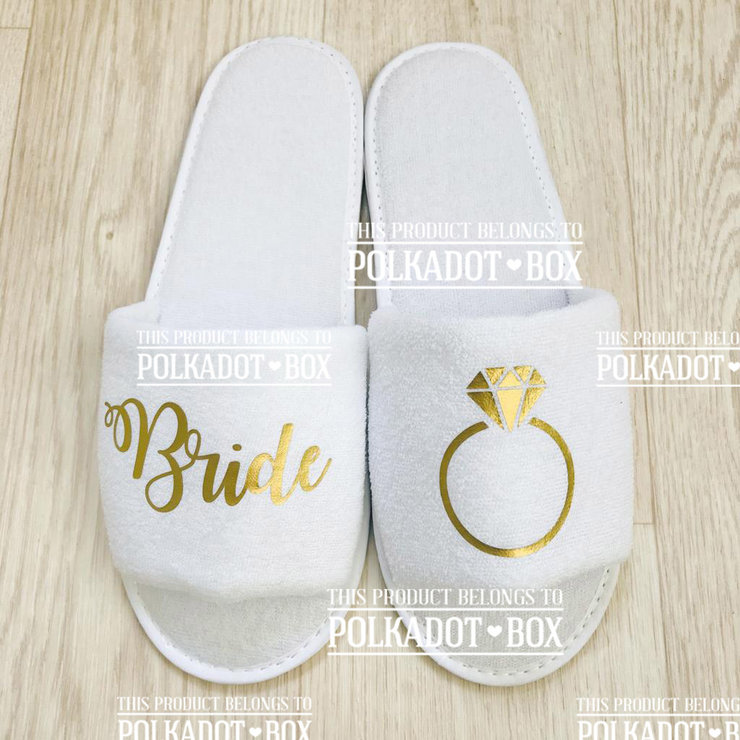 Disposable Bride Slippers by Polkadot Box