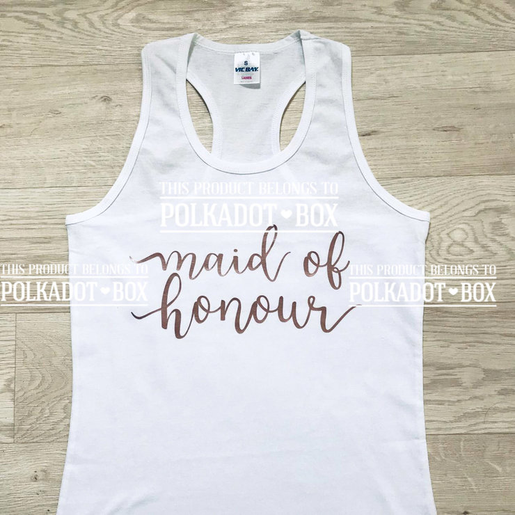 Maid of Honour hen party tank top  by Polkadot Box