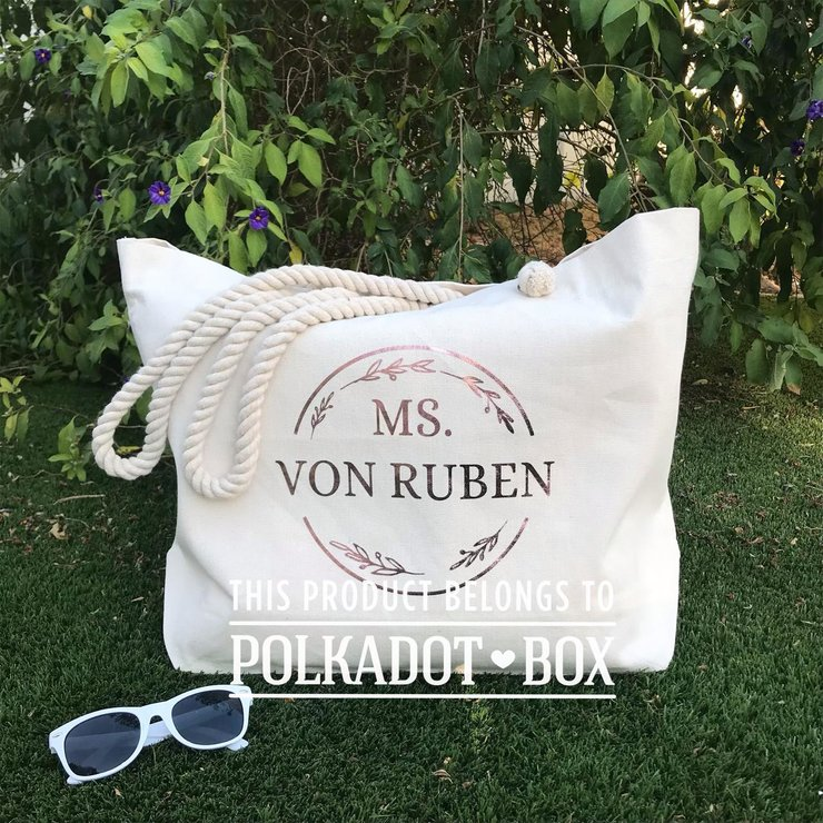 Custom Name Beach Bag by Polkadot Box