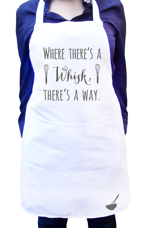 Where there's a whisk there's a way, White kitchen apron with colour detail, Fun baking apron, Women's kitchen apron, Full white bib apron by Toast Stationery