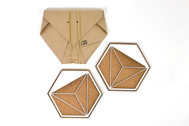 Honeycomb Coasters (Pair) - White and Cork by Leg Studios