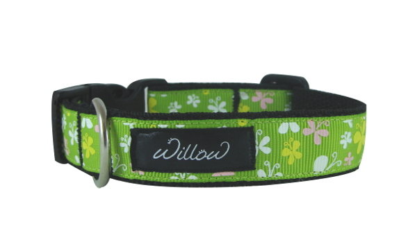 S Small Green Butterflies Dog Collar by Willow Pet Accessories