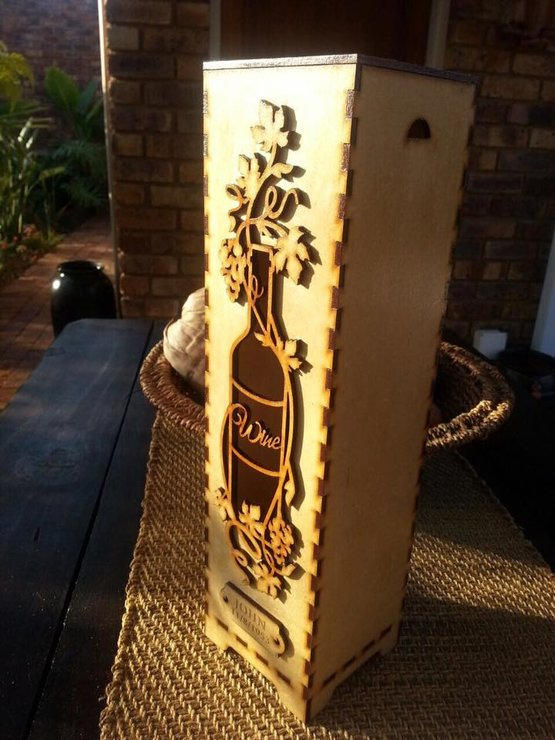 Wine box holder with bottle decor by Dyru Graphics & Laser Art