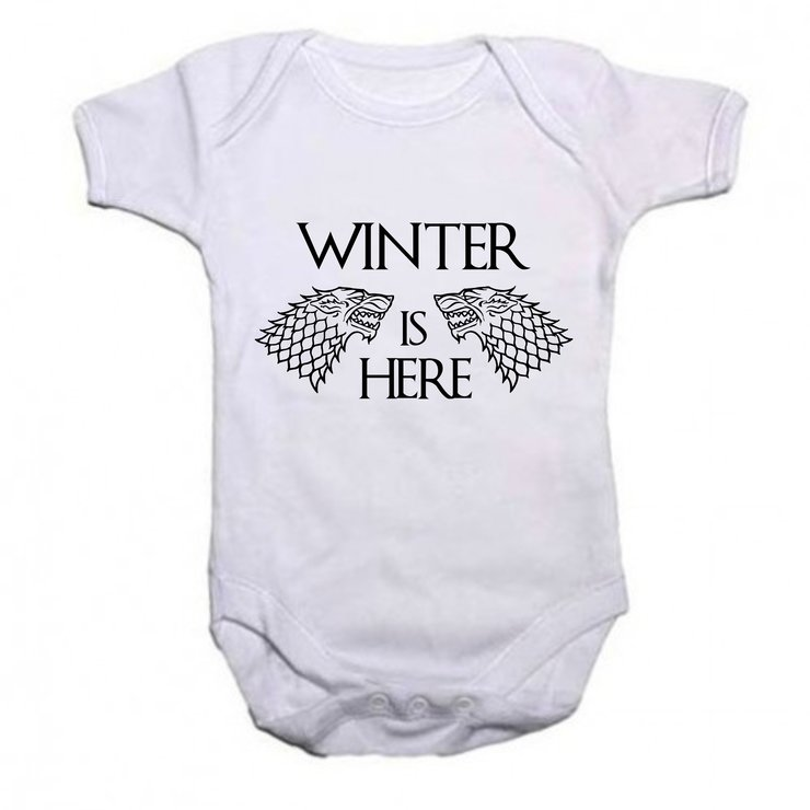 Winter is here stark baby grow by Qtees Africa (Pty)Ltd