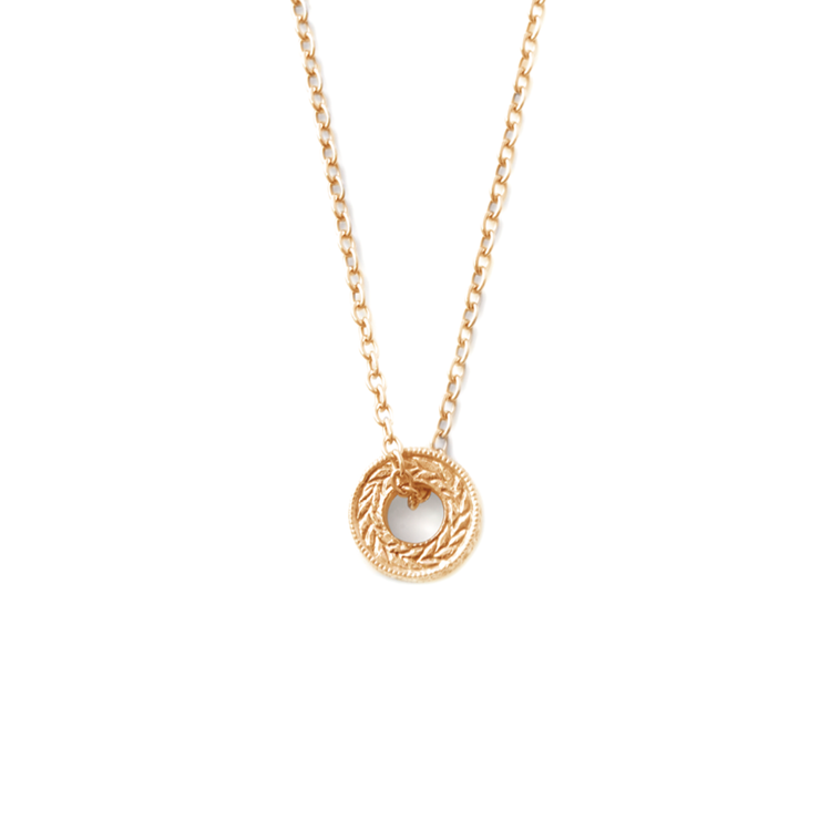 [WHY LOVE] Circle Of Life Collection - Yellow Gold Plated Engraved Front Diamond Pendant And Chain by WHYJewellery
