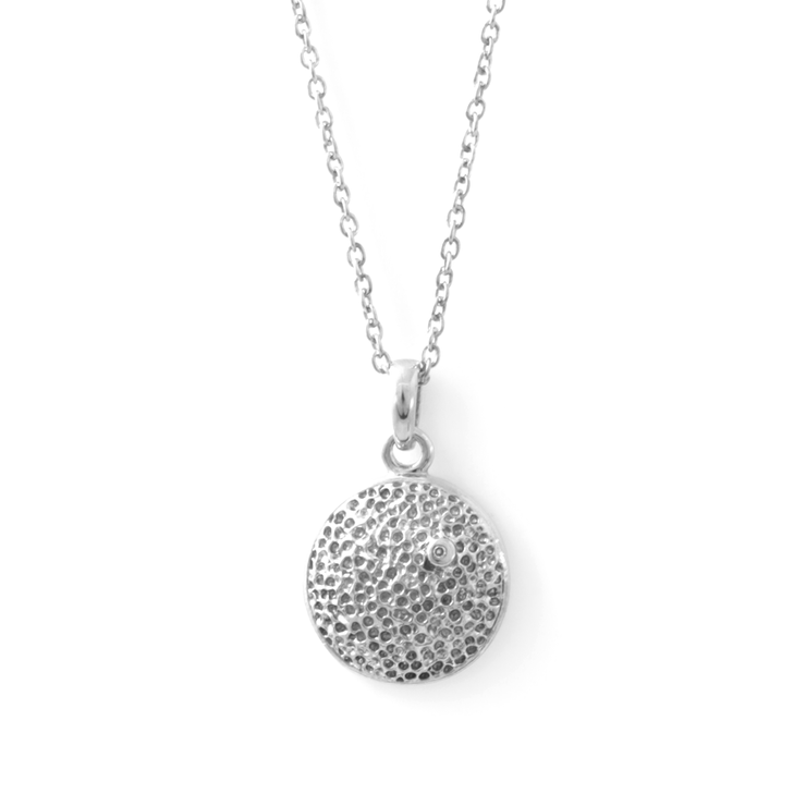 Hammered Diamond Pendant - Palladium Plated Sterling Silver by WHYJewellery