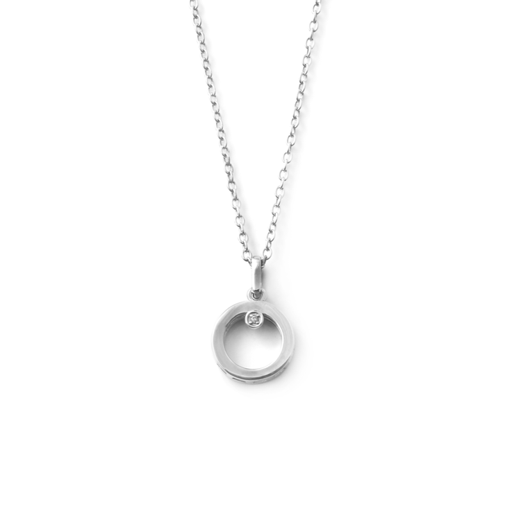 Round Diamond Pendant - Palladium Plated Sterling Silver by WHYJewellery