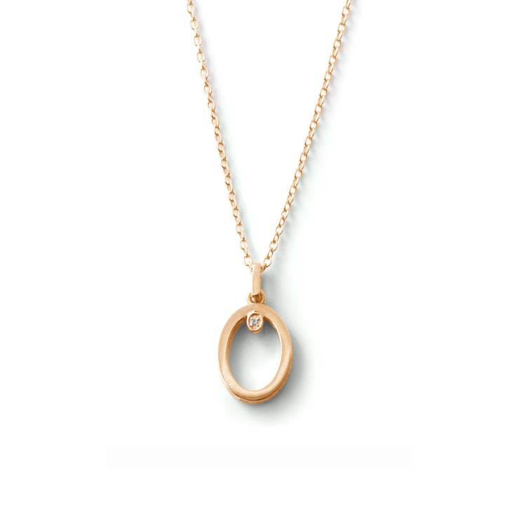 [WHY HER] Shapes Collection - Yellow Gold Plated Oval Diamond Pendant And Chain by WHYJewellery