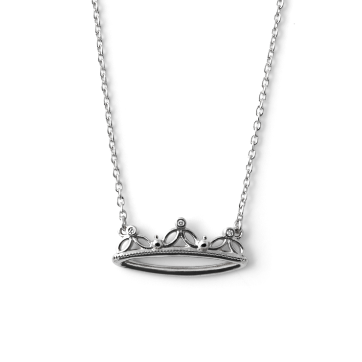 3 Diamond Crown Pendant - Palladium Plated Sterling Silver by WHYJewellery
