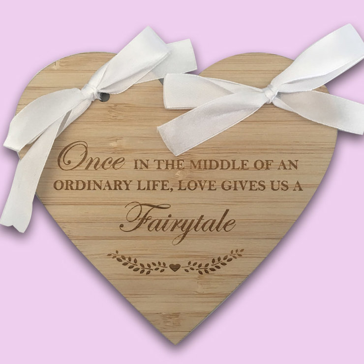 Fairytale Engraved Wooden Ring Holder Heart by Polkadot Box