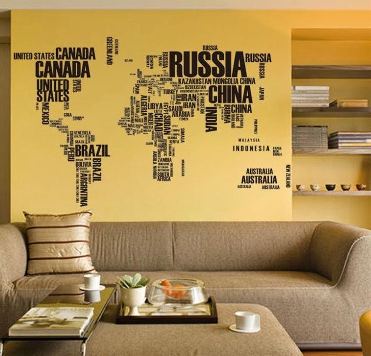 World map vinyl wall art hello pretty buy design world map vinyl wall art by macadamia decor publicscrutiny Images